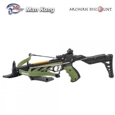 Pistolet arbalete avec crosse Man Kung 80 LBS vert