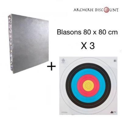 Butte double épaisseur de 80 x 80 cm + 3 Blasons 80 x 80 cm