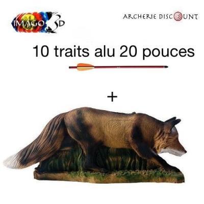 Cible 3D imago Renard en chasse + 10 traits 20 pouces