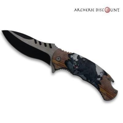Couteau pliant décoré sanglier sur le manche