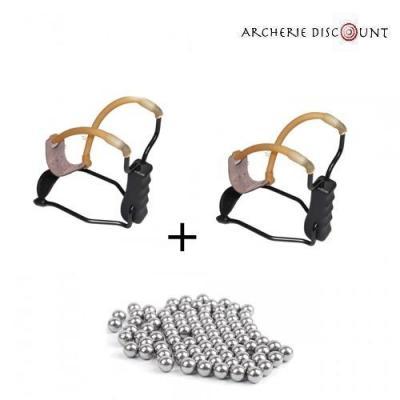 Duo Lance-pierre métal avec repose-poignet et 100 billes 8 mm