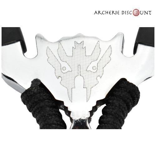 Lance pierre aluminium avec corde noir sur poigne e triple elastique1