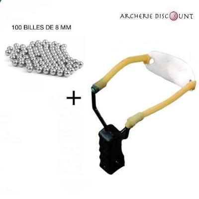 Pack lance pierre simple + 100 billes 8 mm