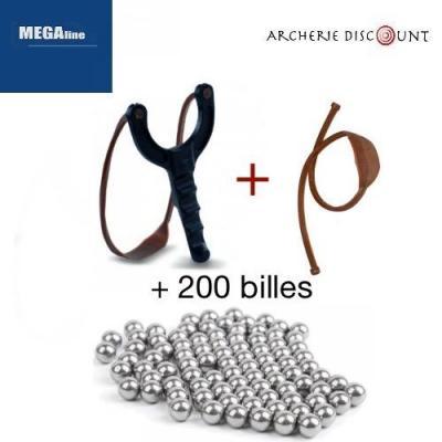 Méga pack lance pierre + élastique + 200 billes de 8 mm