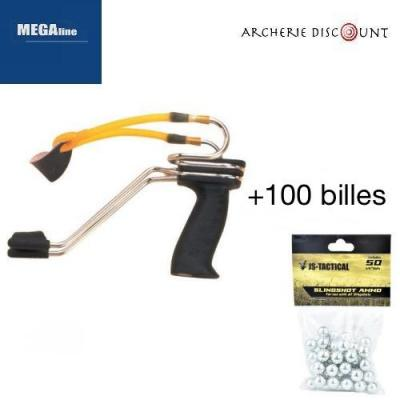 Lance-pierre de compétition simple MEGAline + 100 billes acier