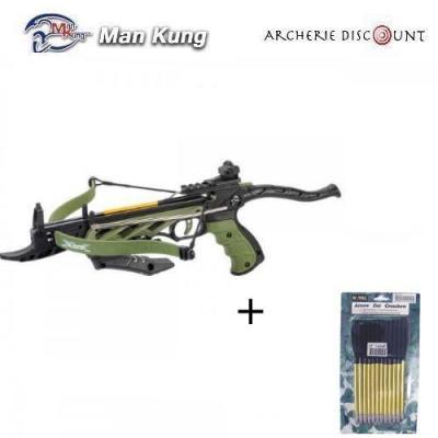 Pistolet arbalète Man kung Alligator couleur vert 80 LBS + 12 traits plastique