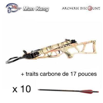 Pack MK- ARBALÈTE RECURVE PLIABLE MK-130 LBS CAMO + 10 traits carbone