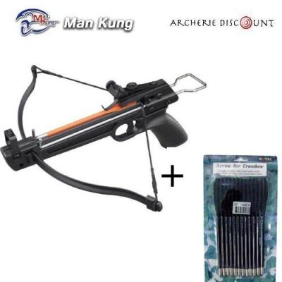 Pack Pistolet arbalete Man Kung MK 50 lbs + 12 traits plastique
