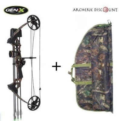 Arc à poulies Gen-X  Versa camo pack complet de 13/70 lbs Droitier + Sac de transport camo