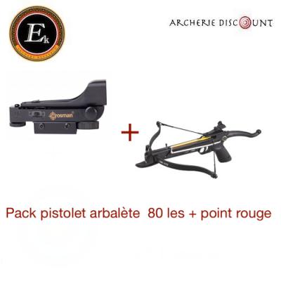 Pack pistolet arbalète Ek Archery Cobra 80 lbs + point rouge