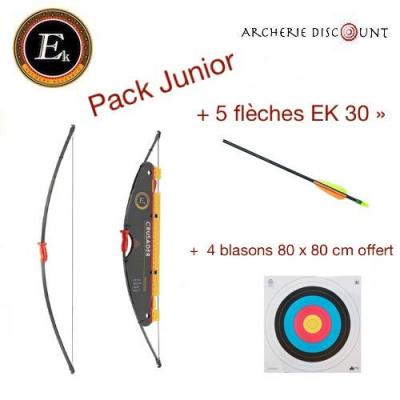 Pack Junior arc recurve de 15 LBS + 5 fleches + 4 blasons offert
