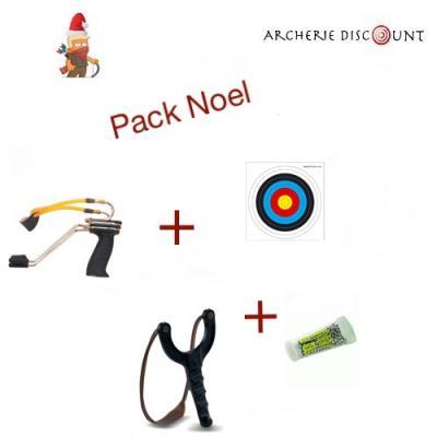 Pack Noel lance pierre  + billes + cible + 1 lance pierre supplémentaire