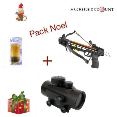 Pack Noel pistolet arbalète + point rouge +10 traits