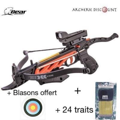 Pack pistolet arbalète 60 livres Bear avec RD + 24 traits alu + 2 blasons