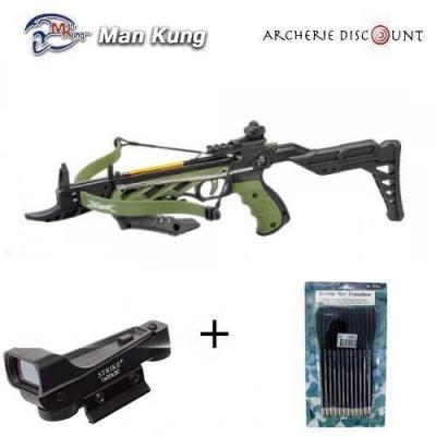 Pistolet arbalete avec crosse Man Kung 80 LBS Vert + 12 TRAITS + point rouge