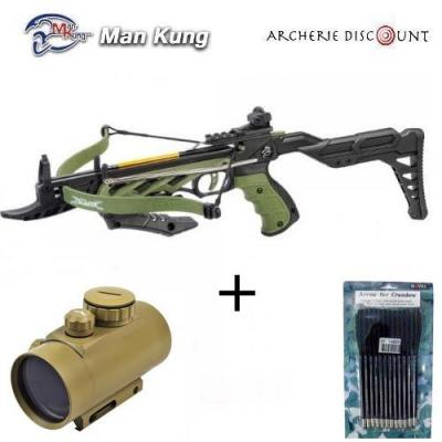 Pack pistolet arbalète Aligator vert avec crosse + point rouge +12 traits