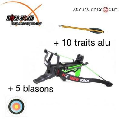 KIT PISTOLET ARBALÈTE Hori-Zone REDBACK 50 LBS + 12 traits en plus