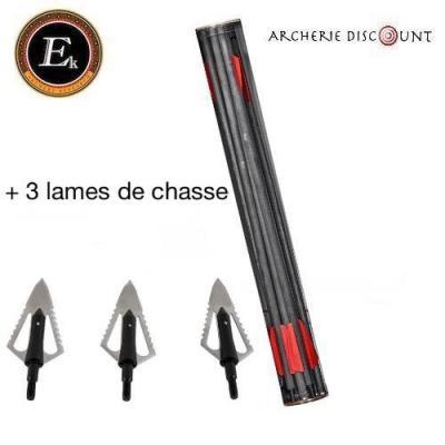Duo traits carbone de 15 pouces + lames de chasse blade 2 lames