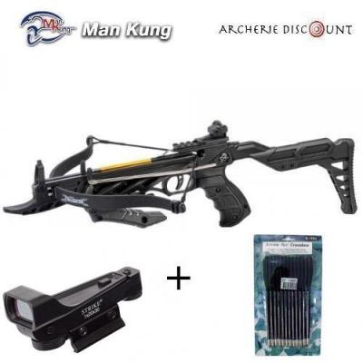 Pistolet arbalete avec crosse Man Kung 80 LBS noir + 12 TRAITS + point rouge