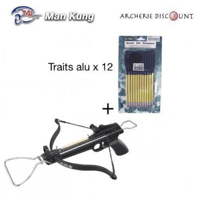 Pistolet arbalète Man Kung 80 lbs + 12 traits alu