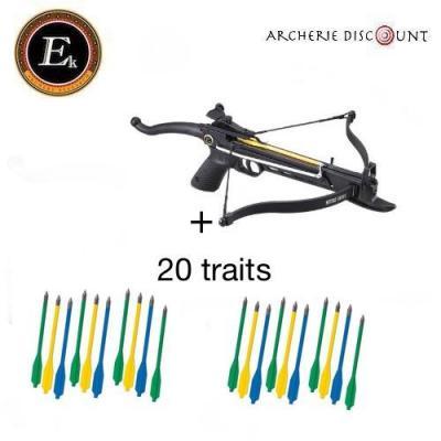 Pistolet arbalète Cobra Ek Archery 80 lbs + 20 traits plastiques