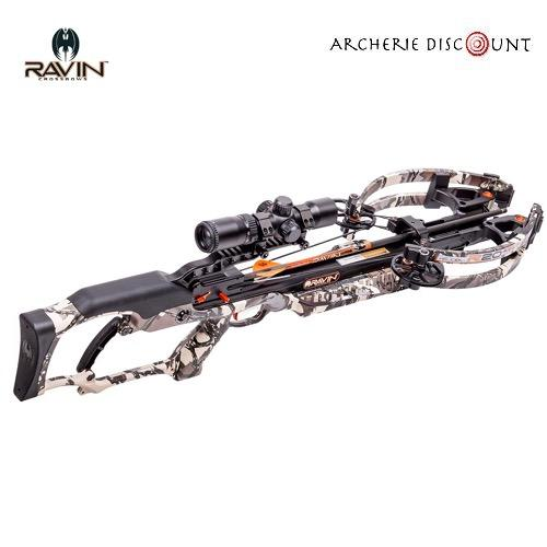 Ravin compound crossbow set r20 predator camo 430fps lenght 33 6 8lbs w 100yd scope