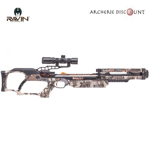 Ravin compound crossbow set r20 predator camo 430fps lenght 33 6 8lbs w 100yd scope1