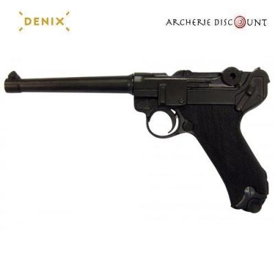 Réplique Denix du pistolet Parabellum LUGER P08 Crosse Noir, ALLEMAGNE 1898