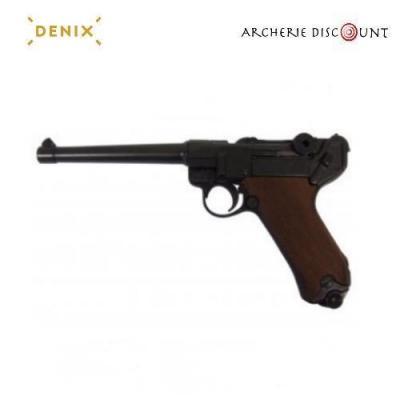 Réplique cinéma du pistolet Parabellum LUGER P08 Crosse bois, ALLEMAGNE 1898