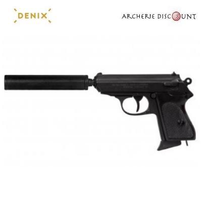 Réplique  cinéma du pistolet semi-automatique avec silencieux denix