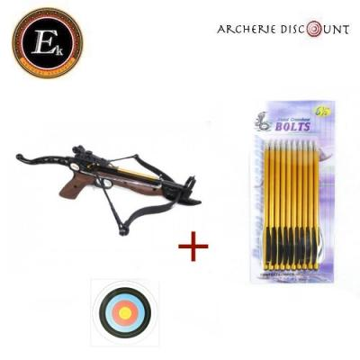 Pack Pistolet arbalète Cobra Ek Archery 80 lbs + 10 traits + 2 cibles