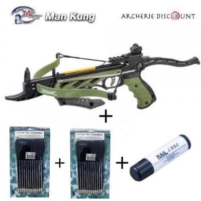 Pistolet arbalète Man kung Alligator couleur vert 80 LBS + 24 traits plastique