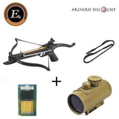 Super pack pistolet arbalète Alu 80 lbs + Point rouge + traits+ corde